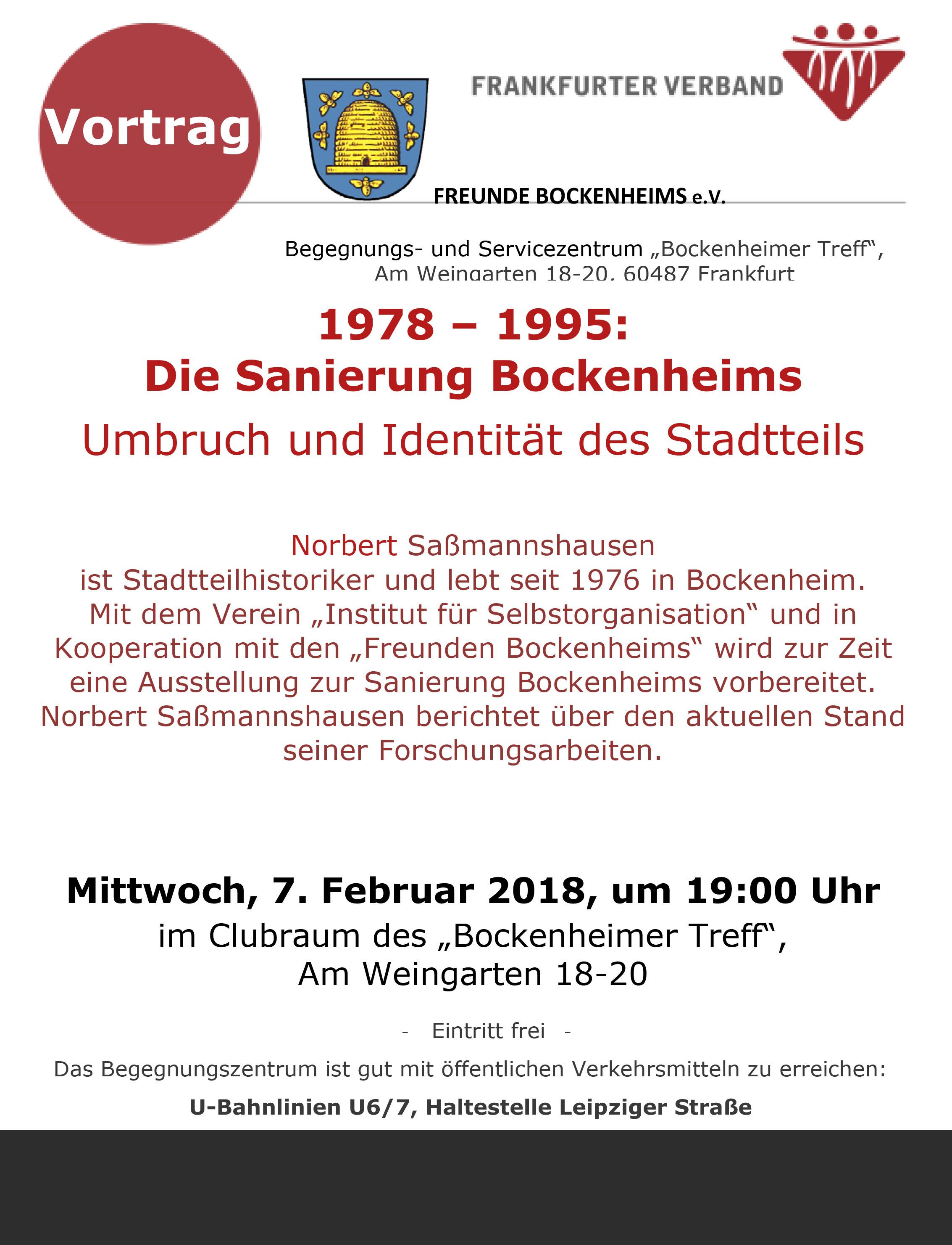 """7. Febr. 2018: Vortrag """"Die Sanierung Bockenheims"""""""